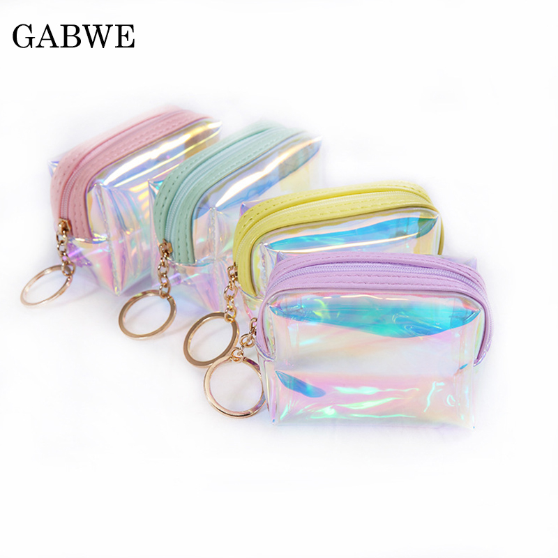 GZBWE Small Cute Clear PVC Lipstick Cosmetic Bag Women Makeup Organizers Hologram Laser Pouch Travel Toiletry Bags Beauty Box