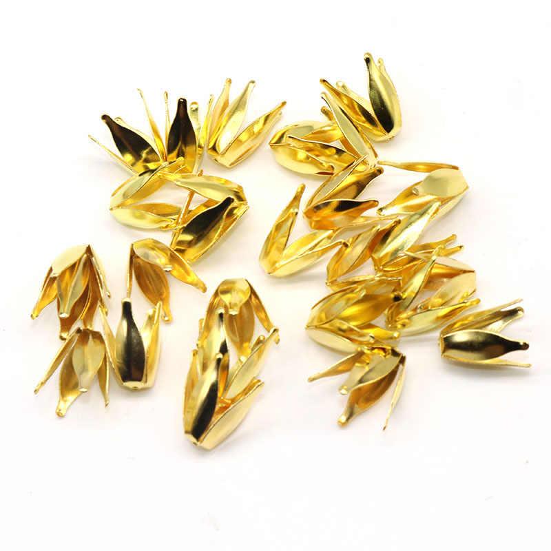 Baru DIY Topi Manik Bunga Logam Daun Bunga Manik Topi Temuan Perhiasan dan Komponen Berlapis Perak Nada 10 Mm Lubang 1.5 Mm 100 Pcs