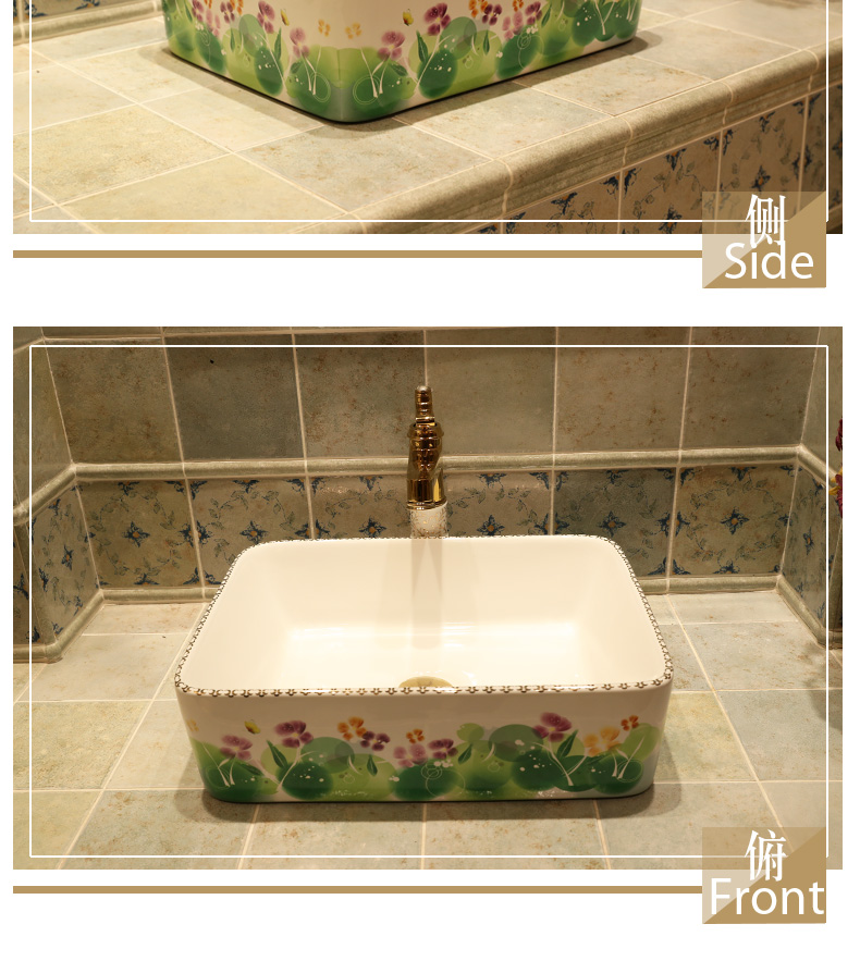 Rectangular Jingdezhen ceramic sanitary ware art counter basin wash basin lavabo sink Bathroom sinks chinese ceramic art sinks (4)