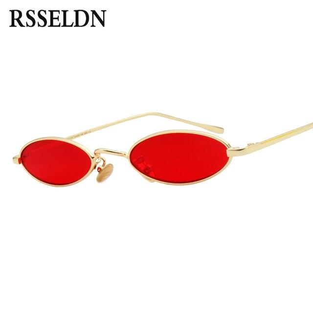 fdfcdc0c8bfea RSSELDN Marca Mulheres Pequeno Oval Óculos de Sol Da Moda Armação de Metal  Homens Claro Vermelho