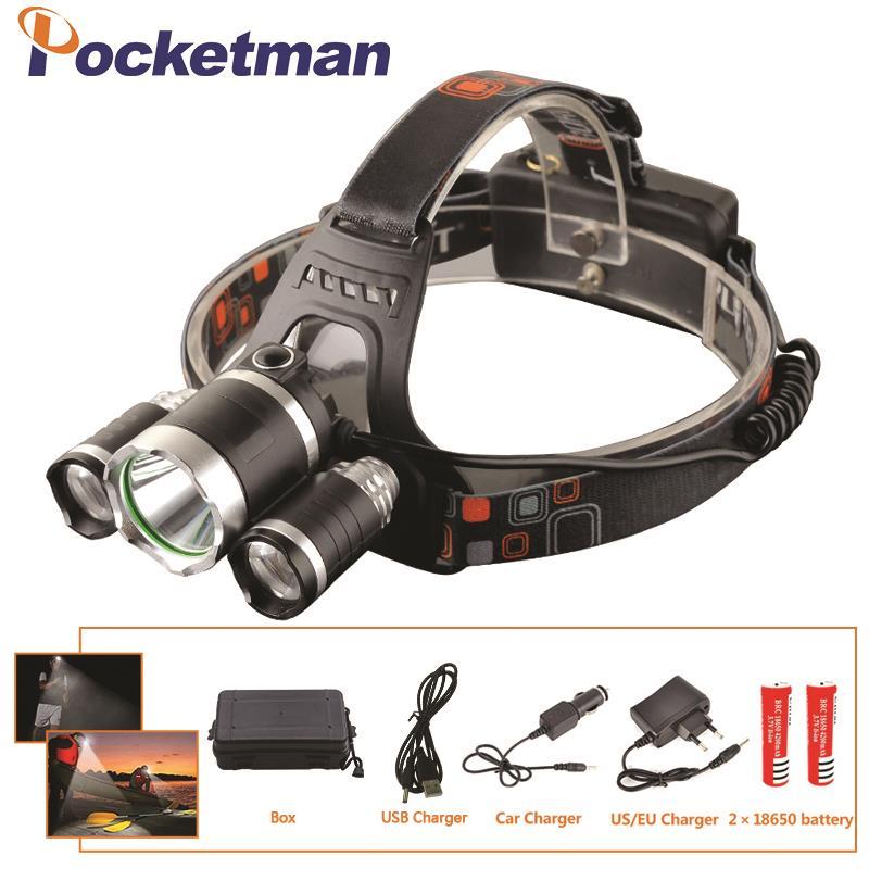 LED Headlight 12000 Lumen 3 x XML T6 LED Head Lamp Flashlight led headlamp choose battery charger for camping/hunting/fishing