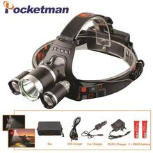 LED Headlight 12000 Lumen  3 x XML T6 LED Head Lamp Flashlight  led headlamp choose battery charger for camping/hunting/fishing