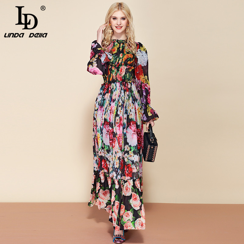 LD LINDA DELLA Fashion Runway Autumn Long Sleeve Maxi Dress Women's elastic Waist Floral Print Elegant Party Holiday Long Dress