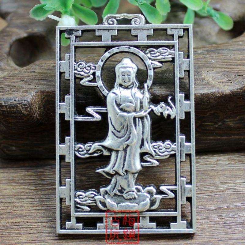 Elaborate Chinese Collection Tibetan Silver Standing Guanyin Auspicious Pendant in Figurines Miniatures from Home Garden