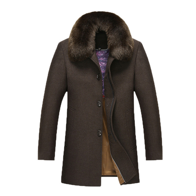 Winter Wool Coat Men Fur Collar Casual Jacket Mens Warm Turn Down Collar High Quality Thicken Woolen Parkas 198wy