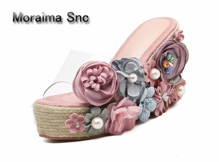 Apopeo brand pantoufle femme summer Thick bottom slippers women Colorful flowers platform high heels sandals ladies wedges shoes