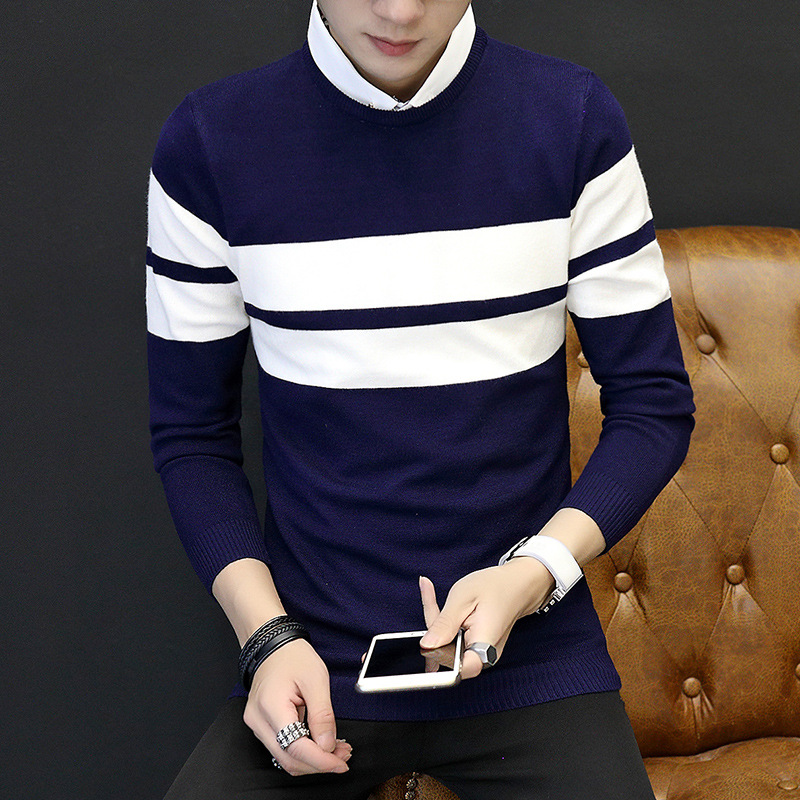 2018 color matching striped sweater men