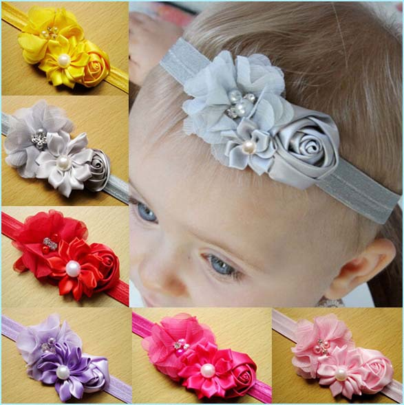 Wholesale little kids chiffon hair band with plastic pearl children double  flowers hairband baby elastic headband -in Hair Accessories from Mother &