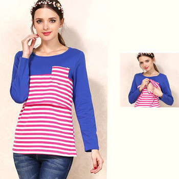 2019 Maternity Nursing Tops Long Sleeve Breastfeeding Clothing For Pregnant Women Casual Striped T-Shirt  B0001 summer clothing t shirt for pregnant women maternity clothing breastfeeding clothes long sleeve nursing tops pregnancy clothes