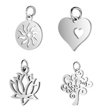 5pcs/lot 316L Stainless Steel Silver Tone  Sun Lotus Love Letter Skull Life of Tree Charm Pendant for DIY Jewelry Making Finding