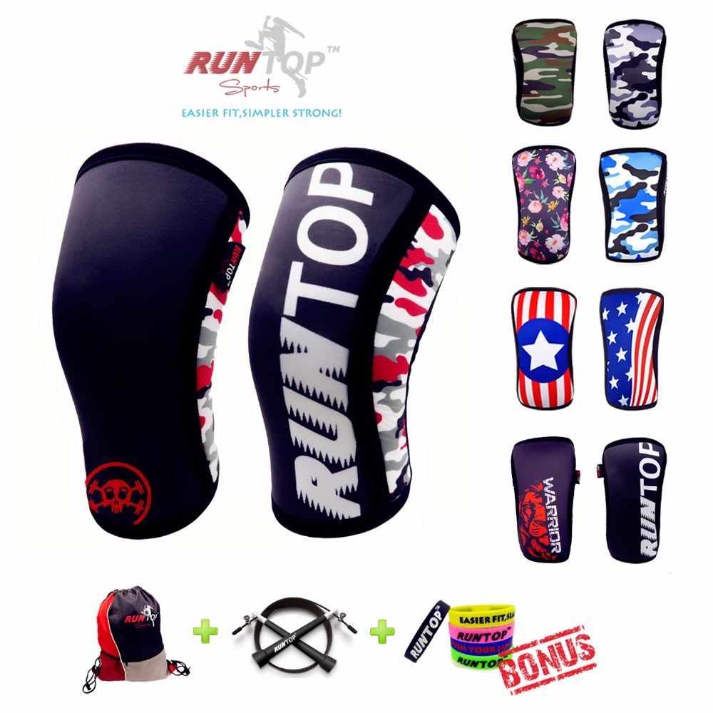 RUNTOP 7mm Neoprene Knee Sleeves Crossfit WODS Squats Weight Lifting Powerlifting Fitness Knee Pad Support Brace Cap Compression 2015 adjustable knee support bracket fixed fracture knee meniscus ligament knee brace
