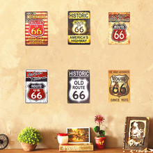 Historic Old Route 66 Neon sign Metal Tin sign Hot Road Plaque for Shop Bar Pub Garage Home Wall Decor(China)