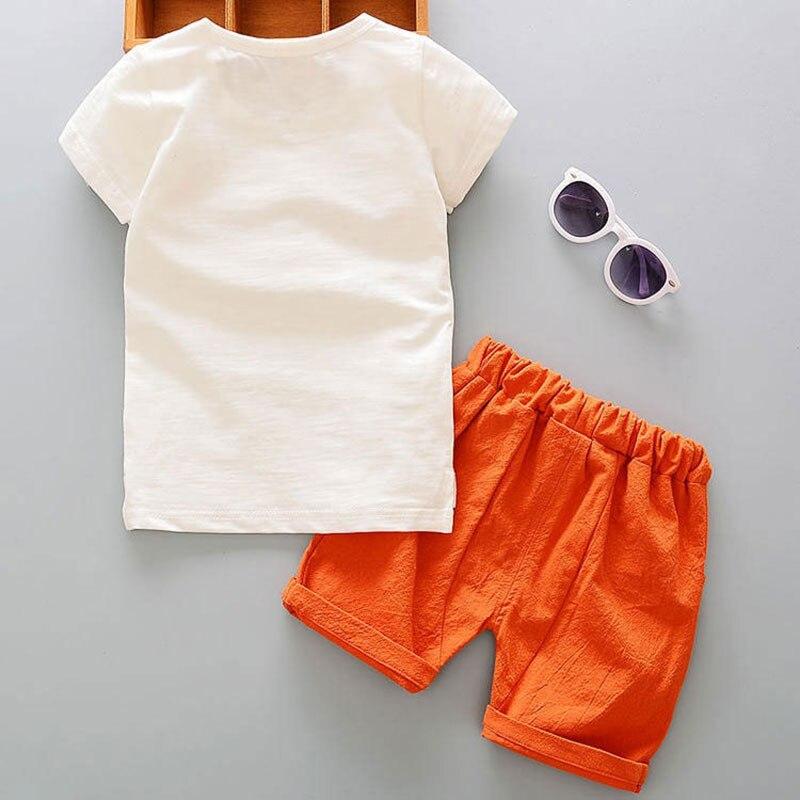Комплекты летней одежды из хлопка с героями мультфильмов для новорожденных, модная верхняя одежда для маленьких мальчиков, костюм, футболк...