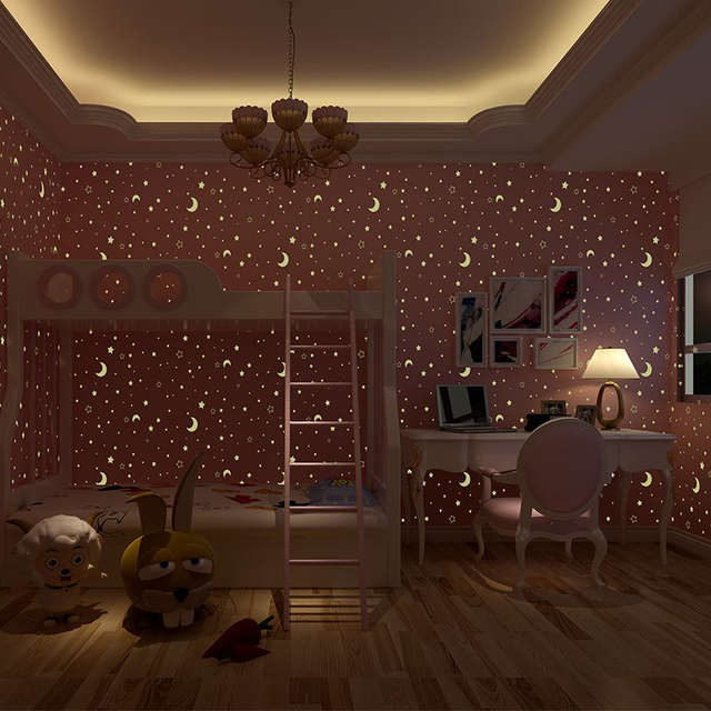 glow effect night sky design star and moon luminous wallpaper kids rh imarket com my