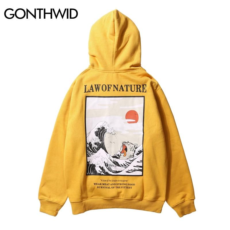 GONTHWID Japanese Embroidery Funny Cat Wave Printed Fleece Hoodies 2019 Winter Japan Style Hip Hop Casual Sweatshirts Streetwear