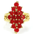 9.5 # StunningReal Красный Рубин SheCrown женщины Созданы Золото Серебро Кольцо 27 х 17 мм