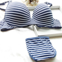 2017 Hot Sexy Women Girl Striped Push Up Padded Underwear 2 Pcs Set Underwire Bra Lingerie