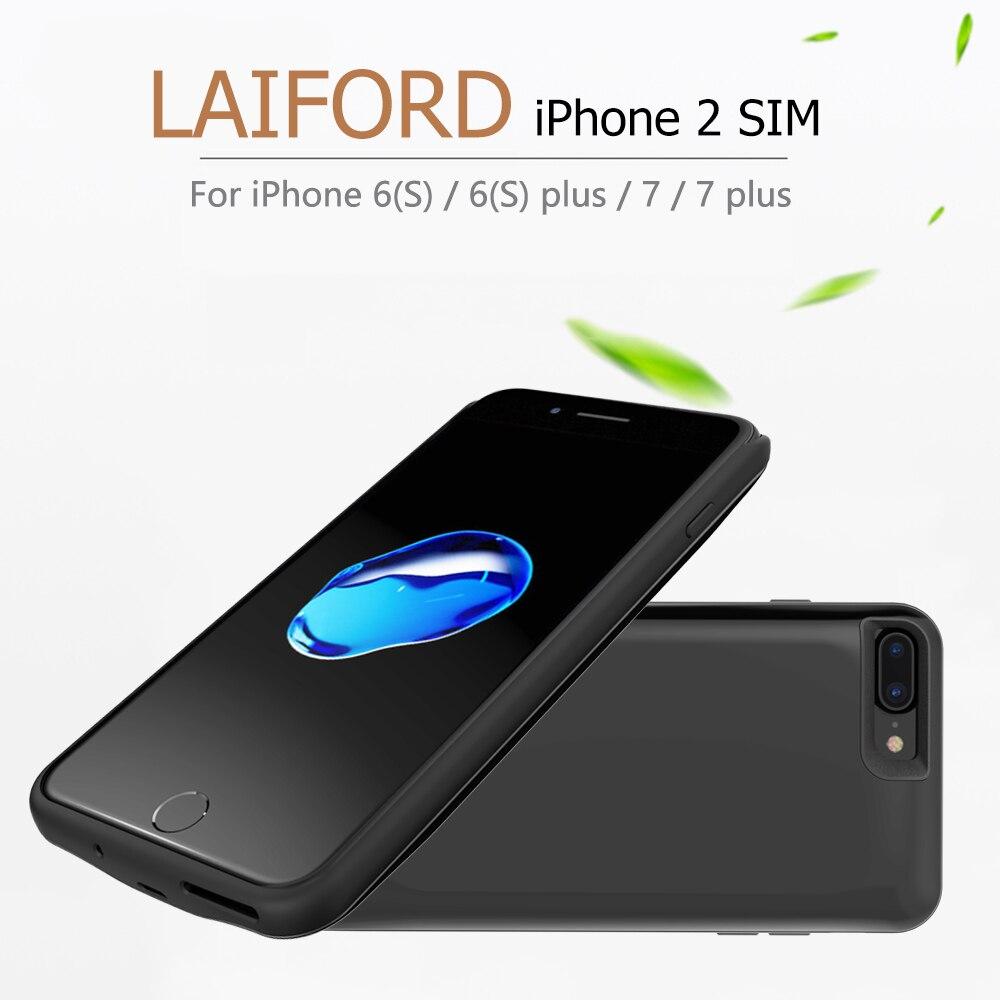 Double SIM double veille Bluetooth adaptateur pour iPhone 7/7 plus GoodTalk téléphone coque Ultra-mince arrière Clip batterie 2500 mAh batterie externe