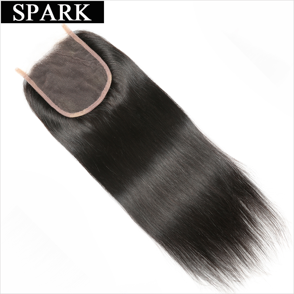 Spark Hair Brazilian Straight Lace Closure 4x4 Free Part Knots Bleached Closures 100% Remy Human Hair Closure Free Shipping