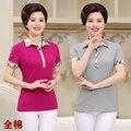 T-shirt do verão das mulheres quinquagenário-manga curta 100% algodão camisa polo colarinho turn-down das mulheres plus size top