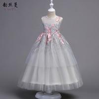 Kids Brand Dresses Size 8 10 12 14 16 Year Embroidered Sleeveless Princess Girls Dress Kids