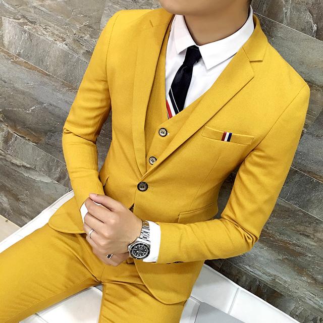 Frete grátis nova Coreano magro Night club masculino palco cantora traje estilista de moda homens vestido de noiva terno 3-piece set ternos masculino