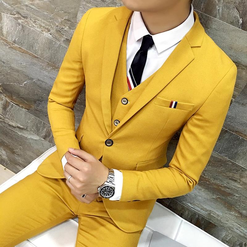 Free Shipping New Korean Slim Night Club Male Singer Stage Costume Stylist Fashion Men Wedding Dress Suit 3-piece Set Suits Male
