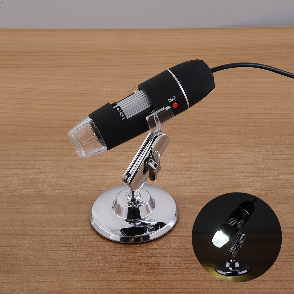 500X/1000X8 LED Microscopio Electrónico Digital microscopio Usb profesional + montaje de pinzas de medida