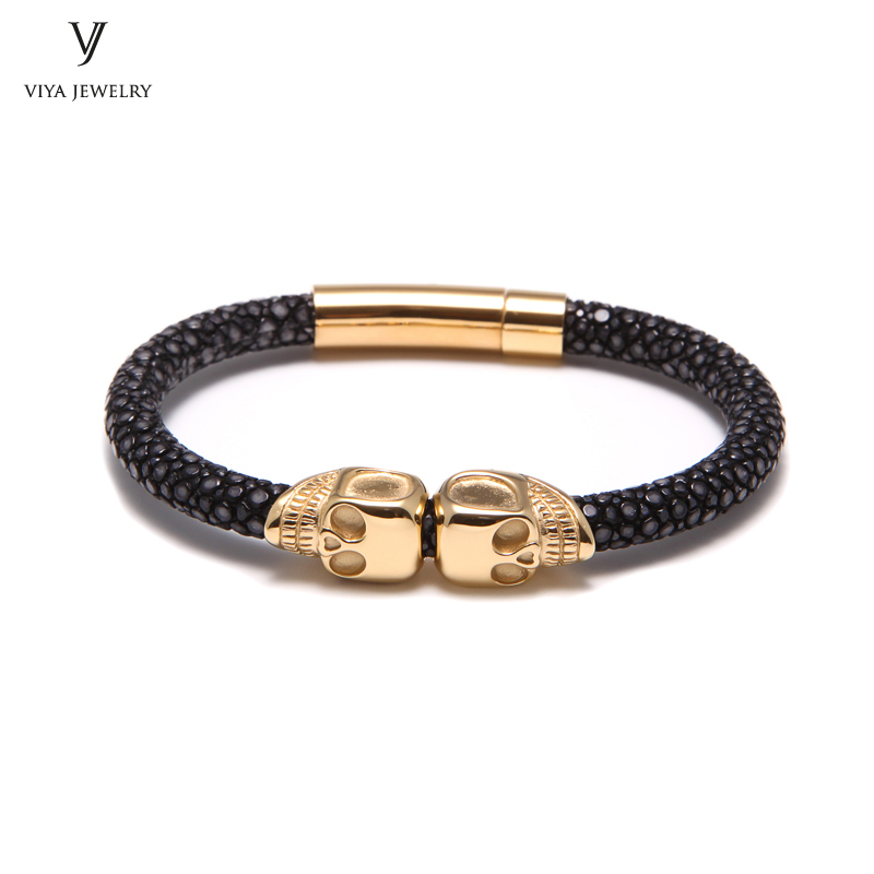 Classic Black Stingray Leather With Gold-color Double Skull Bracelet Charming Stingray Skulls Bracelets For Best Men Gift charming glaze tube shape bracelet for men