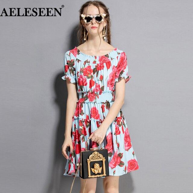 8c76eaf6ef07e US $36.97 61% OFF|AELESEEN Designer New Fashion Women Dress 2019 Runway  Puff Blue dress Rose Slash Neck Elastic Shirred Elegant Printed Dress-in ...