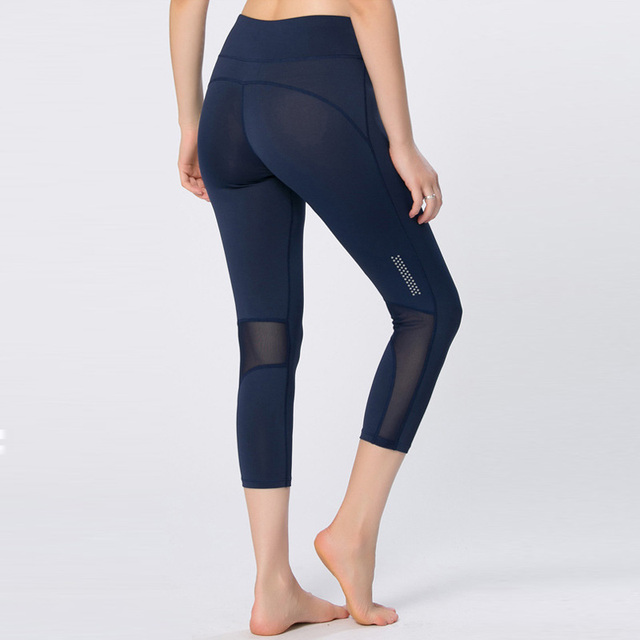 1a86eeda48476d New Sporting Workout Leggings Women Sexy Mesh Splicing Reflective Night  Runs Fitness Legging Breathable Elastic Slim Capri Pants