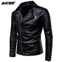 AKSR 2019 New Men's Fashion Casual Long Sleeved Motorcycle Fur Leather Jacket Slim Fit Mens Winter Coats