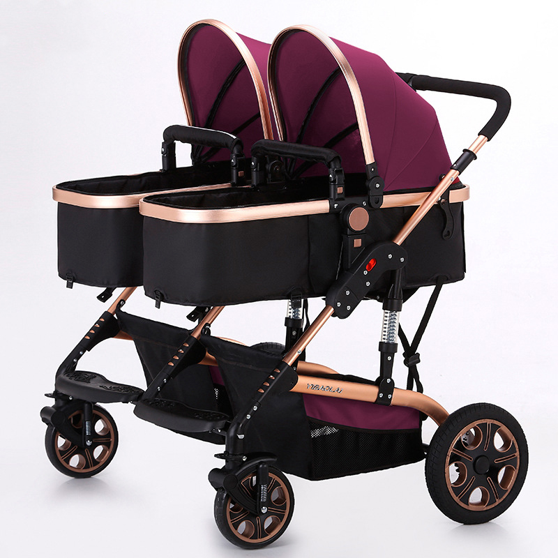 Twins high landscape two baby trolley double fold before and after lying can sit
