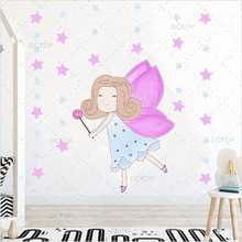 Eight Fariy Clipart Colorful Wall Stickers For Bedroom Kids Room Decorations Beautiful Girls Diy Decals Poster Home Decor