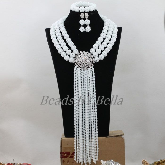 Nigerian Wedding Women Costume African Crystal Beads Bridal Jewelry Sets Opaque White Beads Balls Necklace  Free Shipping ABF784Nigerian Wedding Women Costume African Crystal Beads Bridal Jewelry Sets Opaque White Beads Balls Necklace  Free Shipping ABF784