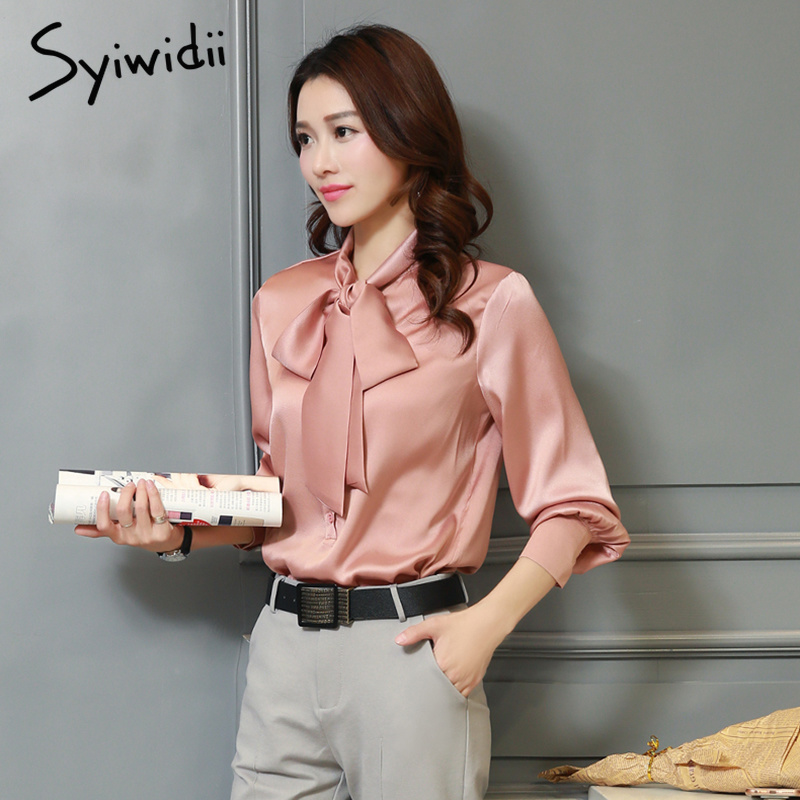 782cf1d97 Ropa de moda coreana blusa de raso Slik Camisas de mujer arco más tamaño  Rosa top azul negro ...