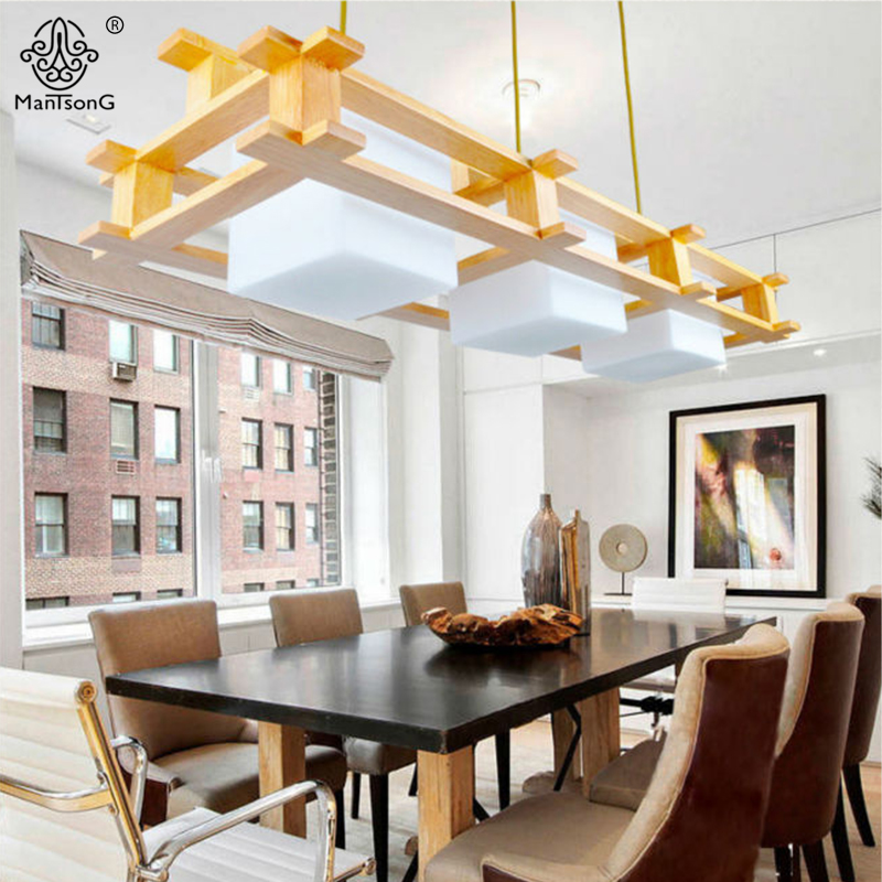 Modern Wood Pendant Lights Nordic Style Wooden Glass Lamp Shade 2/3 Heads E27 Bulb Home Decorative Indoor Lighting Pendant Lamps