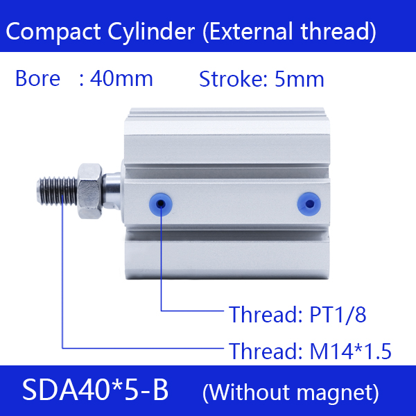 SDA40*5-B Free shipping 40mm Bore 5mm Stroke External thread Compact Air Cylinders Dual Action Air Pneumatic Cylinder