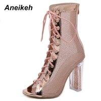 Aneikeh/женские ботильоны на шнуровке, сандалии с открытым носком, Botas Mujer, ботинки-гладиаторы на высоком каблуке, модные блестящие Прозрачные б...