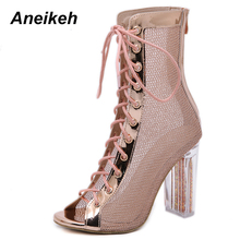 Aneikeh Women Lace-Up Ankle Boots Sandal Open Toe Botas Mujer Gladiator High Heels Booties Fashion Bling Transparent Chunky Heel
