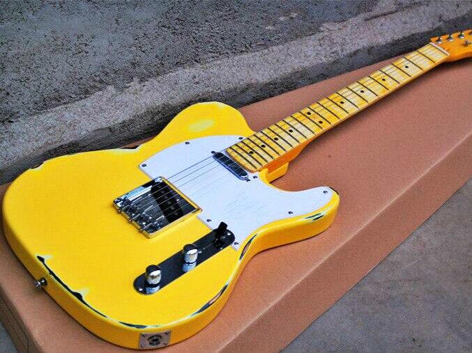 Top qualité FDTL-2041 Antique Do vieux couleur jaune solide basswood corps érable fretboard TL guitare électrique, livraison gratuite