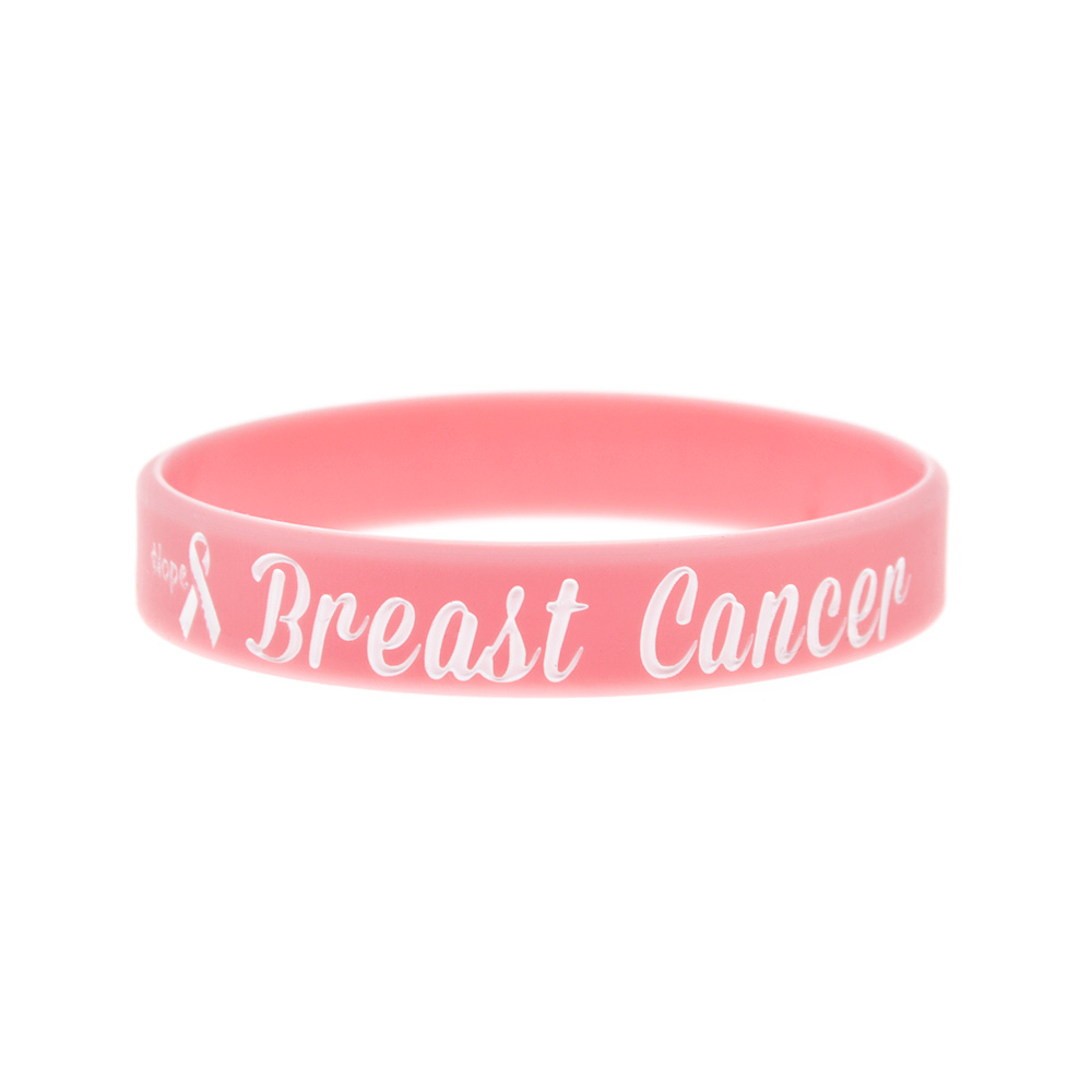Image 5 - OneBandaHouse 50PCS/Lot Motivation Bracelet Hope Ribbon Breast Cancer Awareness Silicone Wristband Pink Fashion Arm Band-in ID Bracelets from Jewelry & Accessories