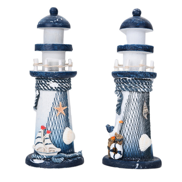 Diy Wooden Nautical Lighthouse Mediterranean Style Household Decoration Fishing Net Cover Air Brushing Decor Hangings