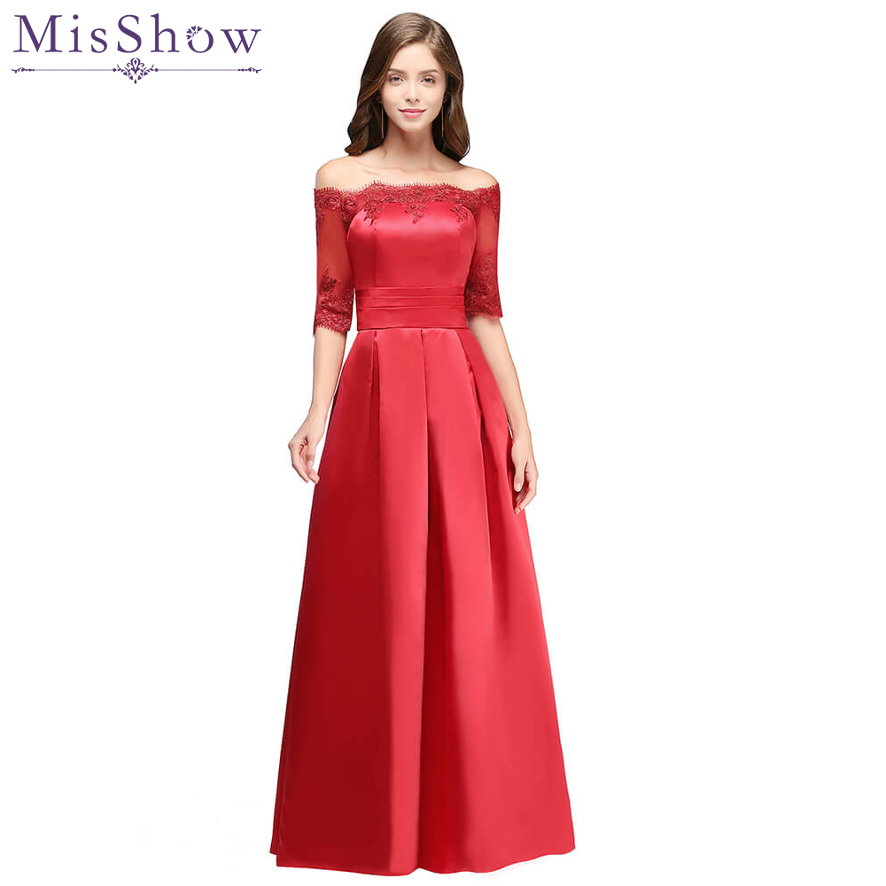 8b70c237d Elegant Party Evening Dresses Long Vestido De Festa A-line Off The Shoulder  Burgundy Red Formal Gown Special Occasion Dresses