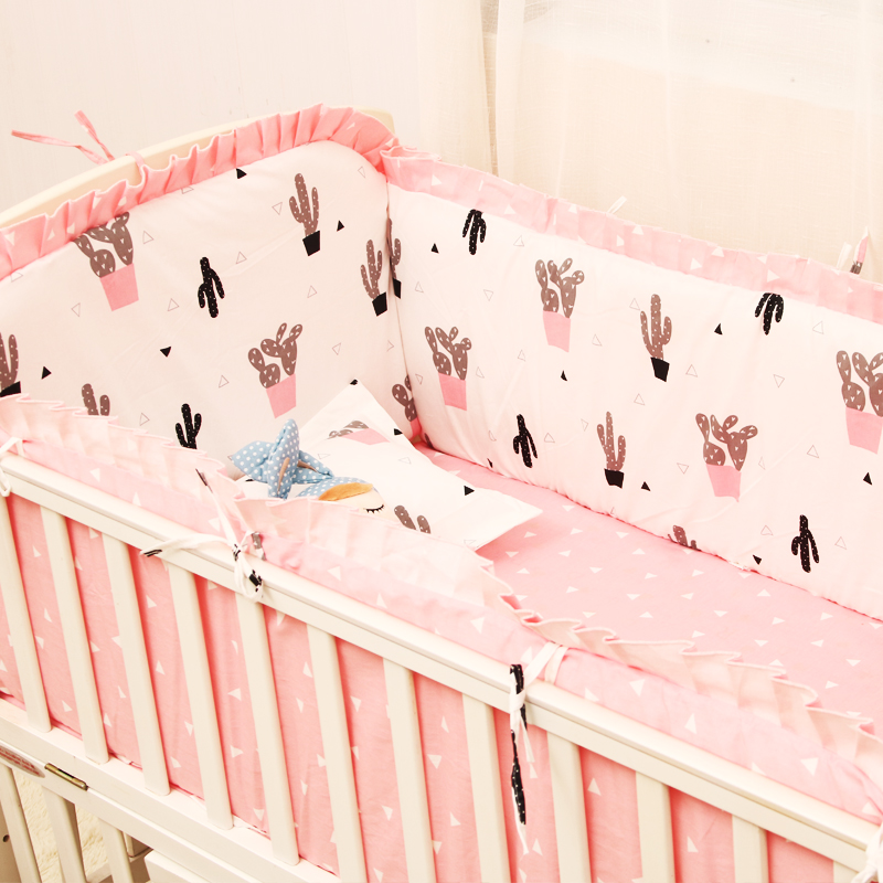 (4 bumpers + 1 sheet + 1 pillowcase) baby bedding set crib bumper bed cot crib around protection for newborn baby cactus Cross 7 pcs set ins hot crown design crib bedding set kawaii thick bumpers for baby cot around include bed bumper sheet quilt pillow