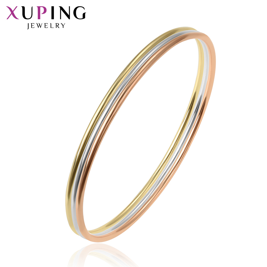 Xuping Jewelry Simple Three Bangle Composition Charm Neutral Women Christmas Day Gift S116252213