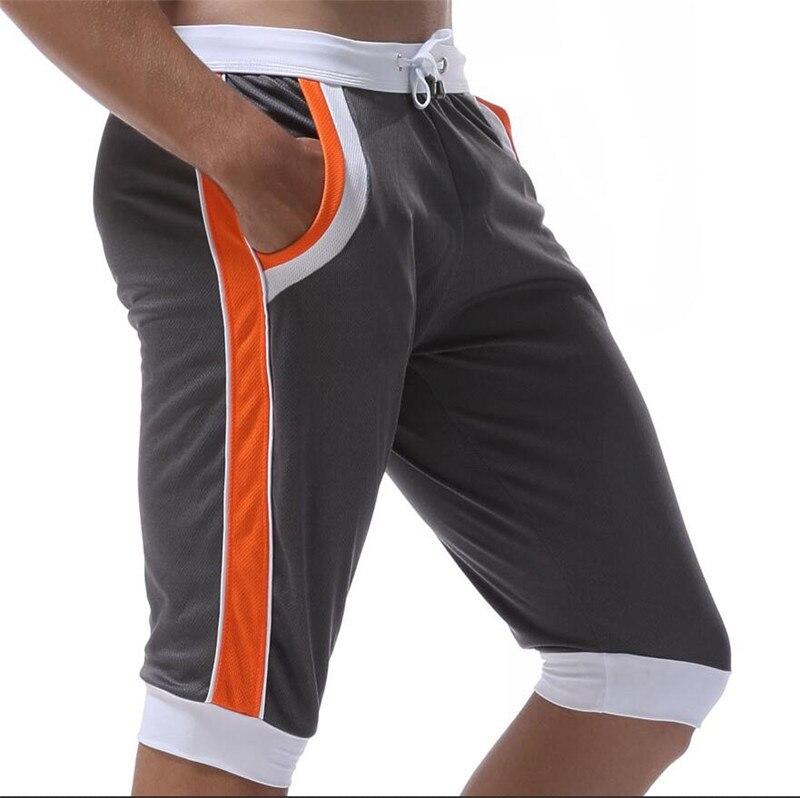 WJ Летние повседневные спортивные шорты, мужские брюки, эластичные Брендовые мужские капри, модные облегающие спортивные шорты длиной до колен, быстросохнущие шорты для тренировок - Цвет: Серый