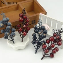 5pcs (75 head) Artificial Mini Cherry Berries Fake Pearl Flower Stamen DIY Wedding Home Bouquet Christmas Tree Decoration Fruit