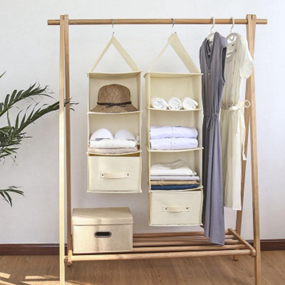 Foldable Hanging Wardrobe Section Storage Organiser Shoe Clothes Garment Tidy Cabinet Organization