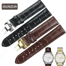 ISUNZUN is really suitable for Tissot 1853 T065430A starfish series T065 black coffee leather strap все цены